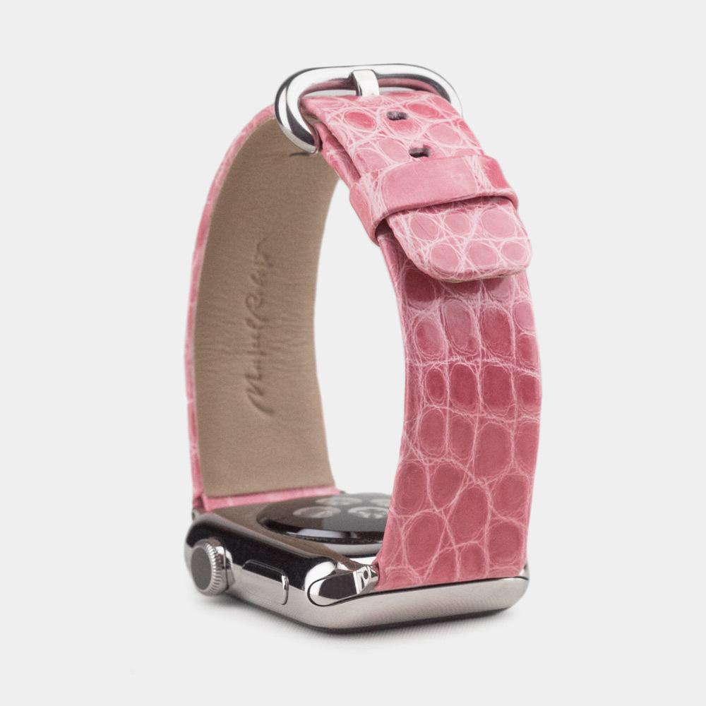 Ремешок для Apple Watch 38/40mm ST Classic из натуральной кожи аллигатора, цвета розовый лак