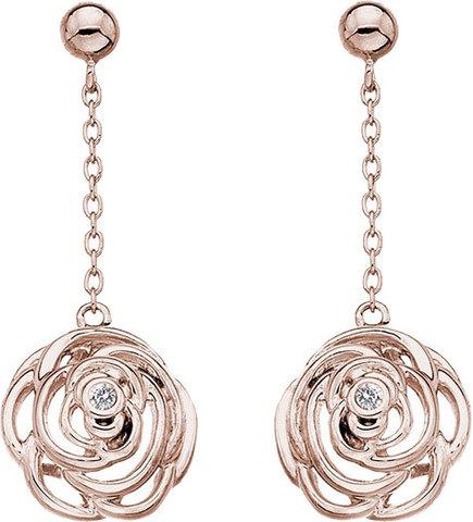 Серебряные серьги в виде розы на цепи с бриллиантами и позолотой