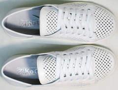 Кожаные летние кеды туфли женские на шнуровке ZiKo KPP2 Wite.