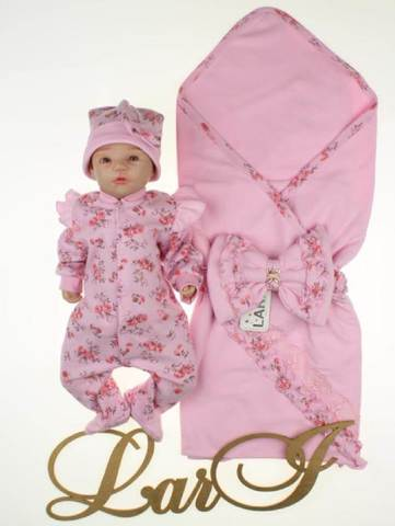 Летний комплект на выписку для девочки Роуз (розовый)