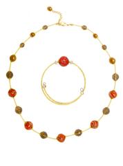 Браслет и ожерелье из муранского стекла красно-золотые