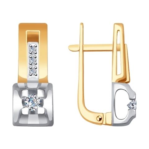 1021250 -Серьги из комбинированного золота с бриллиантами