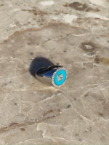 Кольцо из серебра с голубой эмалью и цирконами