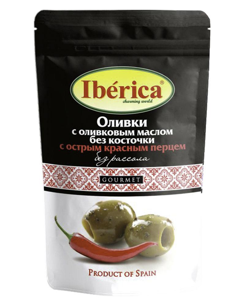 Оливки Iberica с оливковым маслом и острым красным перцем без косточки (без рассола) 70 гр
