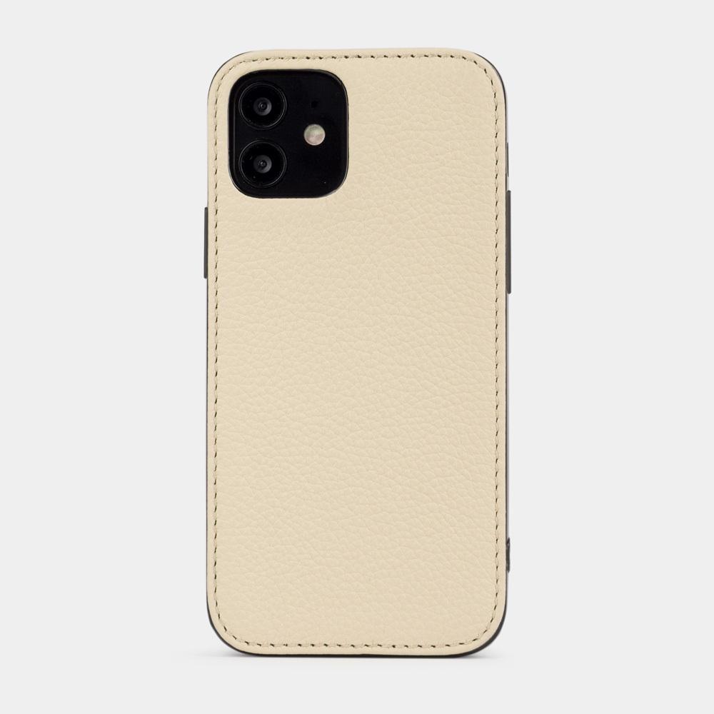 Чехол-накладка для iPhone 12/12Pro из натуральной кожи теленка, цвета молоко