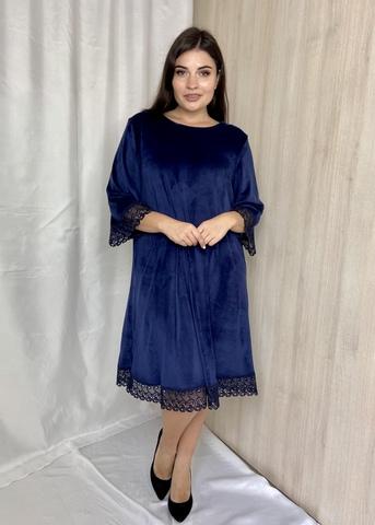 Лоліта. Нарядне велюрове плаття з мереживом. Синій