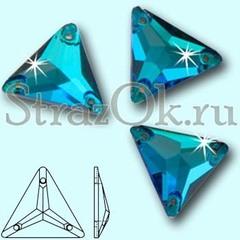 Стразы пришивные стеклянные Triangle Blue Zircon, Треугольник Блю Циркон, синие на StrazOK.ru