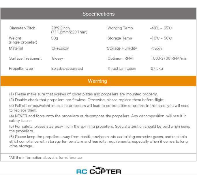Характеристики Пропеллер карбоновый составной G 28x9.2 T-Motor (пара)
