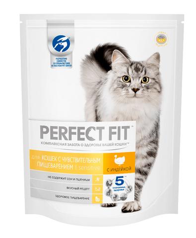 Perfect Fit Sensitive сухой корм для взрослых кошек с чувствительным пищеварением (с индейкой) 650 г