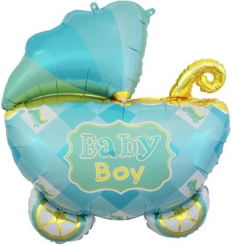 Шар (35''/89 см) Фигура, Коляска для мальчика, Голубой, 1 шт.