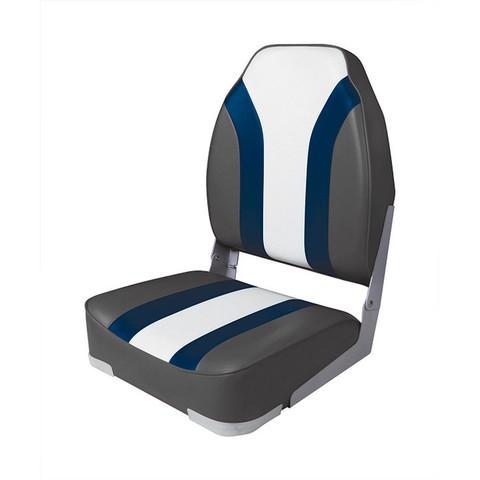 Сиденье мягкое складное High Back Rainbow Boat Seat, черно-белое
