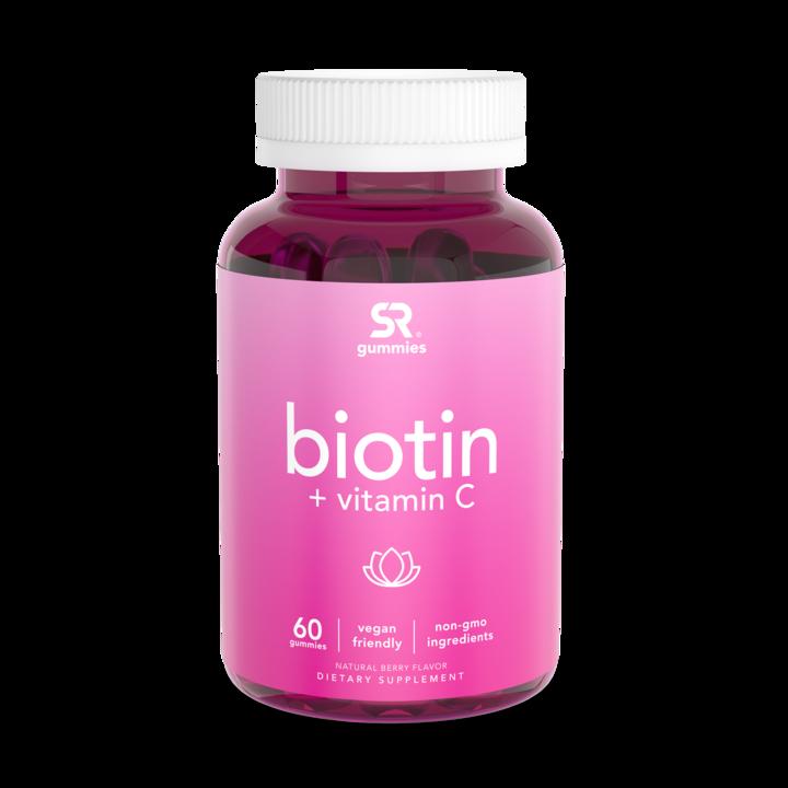 Биотин с витамином С, Biotin + vitamin C, Sports Research, (60 жевательных капсул)