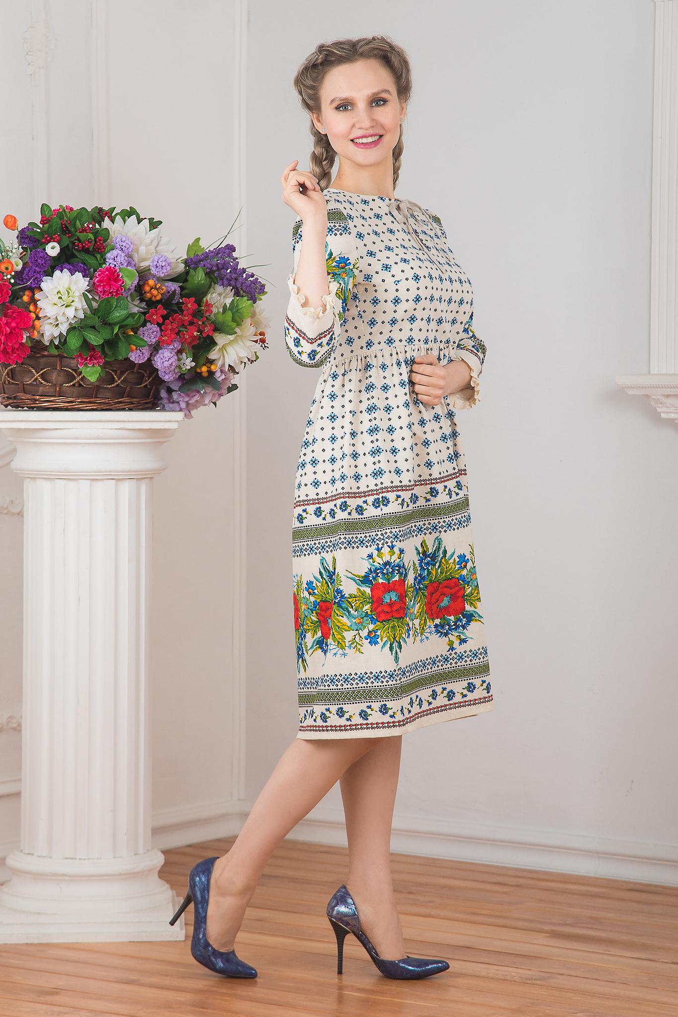 Платье льняное Квитка вид сбоку