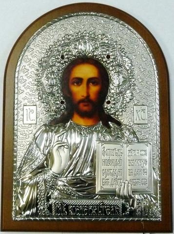 Инкрустированая драгоценными камнями серебряная икона Иисуса Христа Спасителя 20х14,5см в подарочной коробке