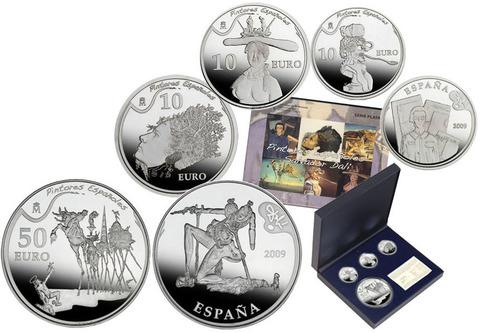 Набор из 4 монет «Великие художники: Сальвадор Дали» Испания. 2009 год