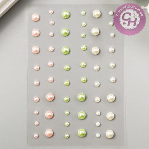 Клеевые полужемчужинки разноцветные, 54 шт, набор микс.