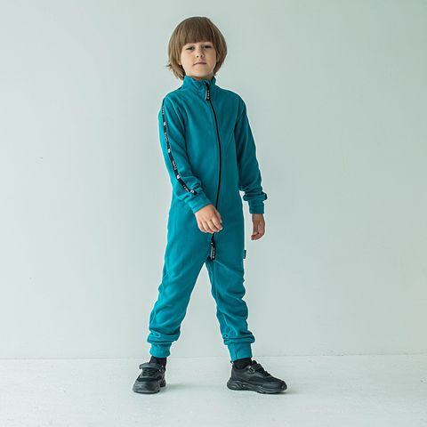 Thermal fleece jumpsuit with stripes for teens - Aquamarine