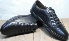 Городские кроссовки мужские черные кожаные на осень Novelty 5235 Black