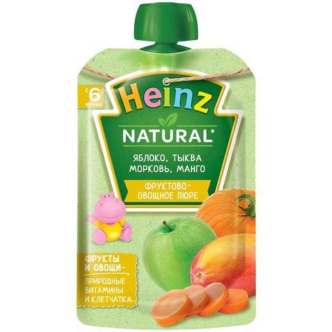 Пюре Heinz яблоко, морковь, тыква, манго, пауч 90 гр. (6+ мес.)