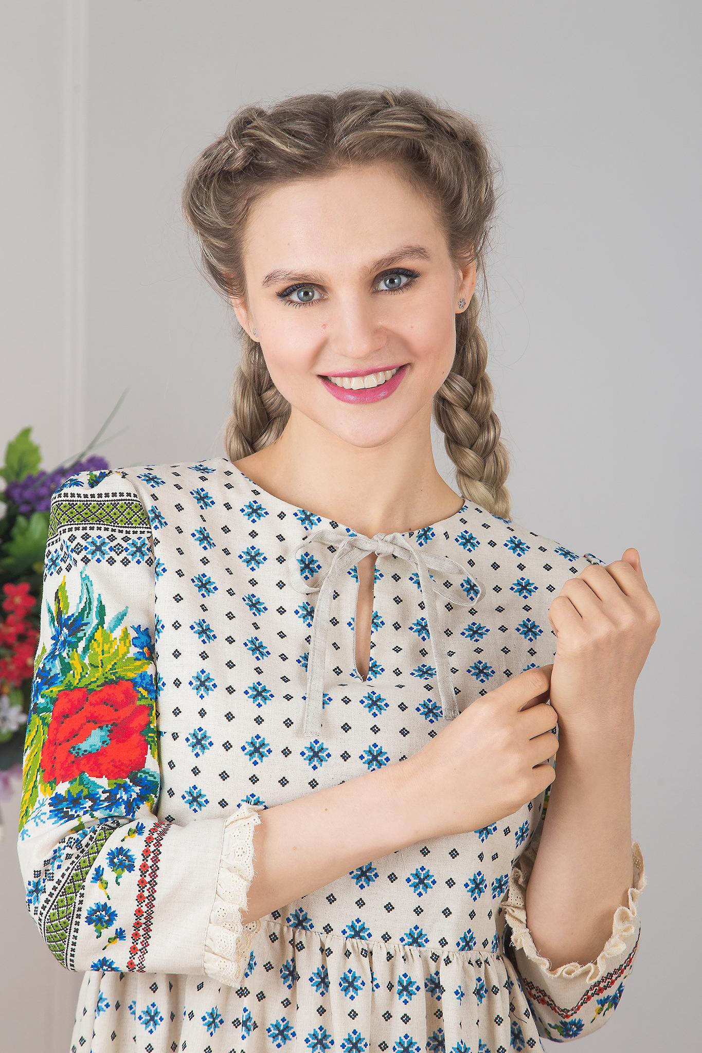 Платье льняное Квитка приближенный фрагмент