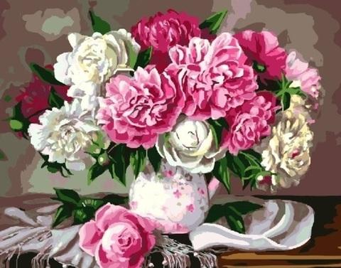 Алмазная Мозаика 30x40 Белые и розовые пионы в белой вазе
