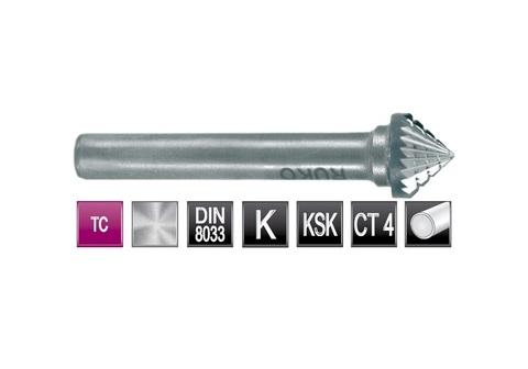 Бор-фреза твердосплавная K(KSK) 90° 16,0х8x6x53мм HM Ruko 116231