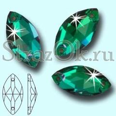 Стразы пришивные стеклянные Navette Emerald, Лодочка Эмеральд зеленый на StrazOK.ru