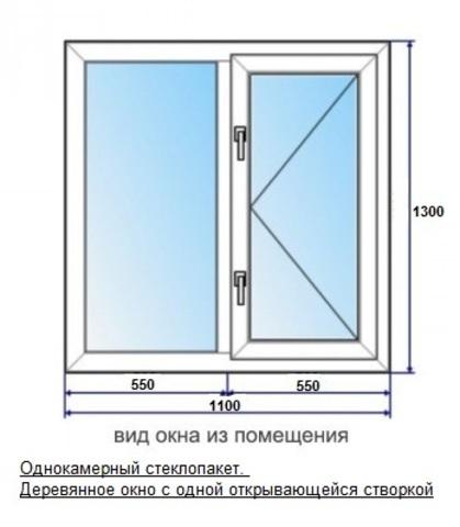 Окно 1стп 1,1х1,3 (В) мм 2-секционное с 1 открывающейся створкой