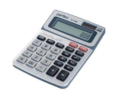 Perfeo калькулятор PF_3545, бухгалтерский, 12-разр., GT, серебристый (KT-888)