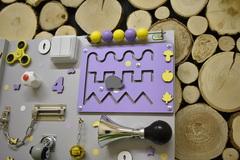 Бизиборд стандарт 50х65 см Базовой комплектации Бирюзово-Фиолетовый универсальный