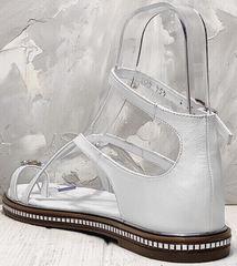 Кожаные сандали женские босоножки с ремешком вокруг щиколотки Evromoda 454-402 White.