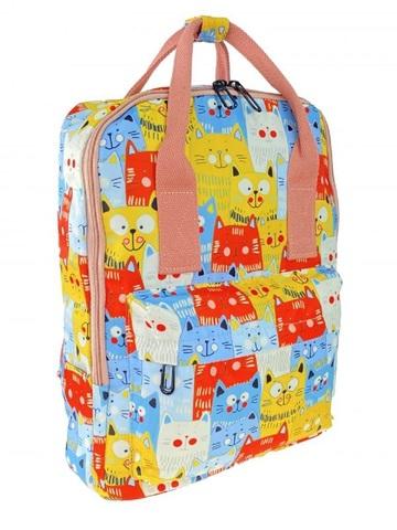 Молодёжный рюкзак из текстиля с принтом, голубой