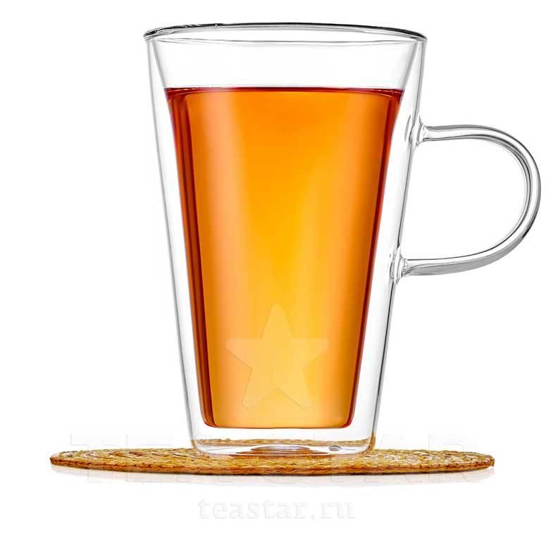 Купить стакан-кружку с двойными стенками 400 мл для кофе и чая из прозрачного стекла c доставкой в Москве, СПб