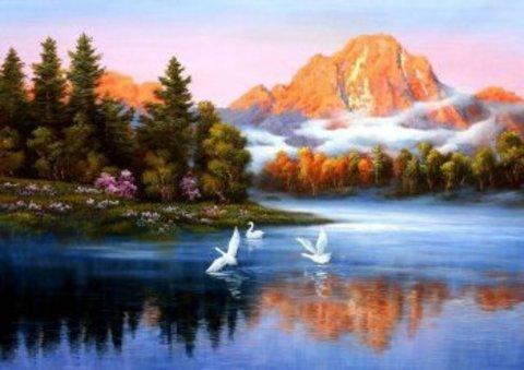 Алмазная Мозаика 30x40 Лебеди кружат над озером (Арт. SEG73603 )