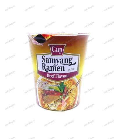 Корейская пшеничная лапша со вкусом говядины Samyang Beef flavour, 65 гр.