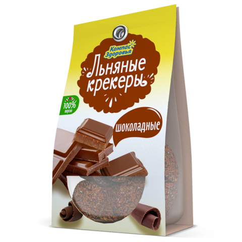 Крекеры льняные шоколадные, 50 гр. (Компас Здоровья)
