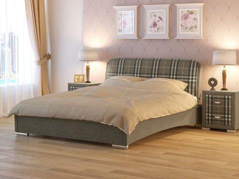 Кровать двуспальная Nuvola 4 (Нувола 4) Ткань: Глазго Коричневая в клетку