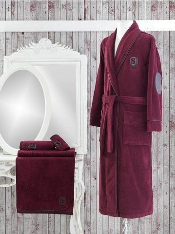 Мужской махровый банный халат LUXURE бордовый
