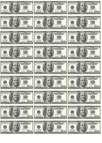 Печать на сахарной бумаге, Набор Купюра 100 долларов 2