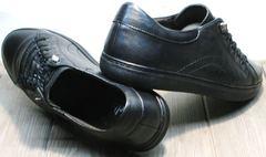 Городские кроссовки на резинке мужские черные кожаные на осень Novelty 5235 Black