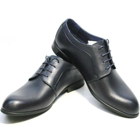 Синие туфли дерби. Кожаные туфли мужские классические Ikoc Classic Blue.