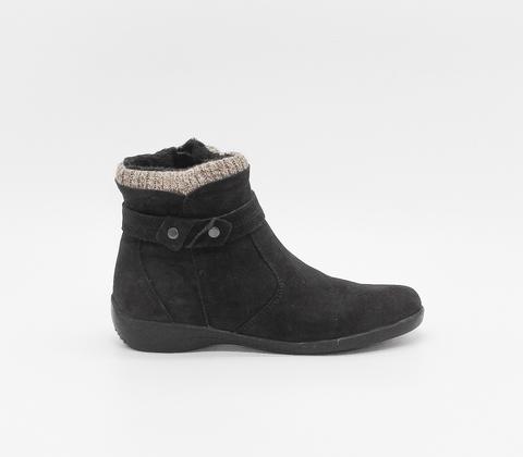 Черные ботинки из нубука с вязаной вставкой