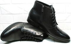 Модные черные ботинки кожаные мужские Ikoc 3640-1 Black Leather.