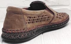 Легкие слипоны мокасины кожаные мужские стиль кэжуал мужской Luciano Bellini 91737-S-307 Coffee.