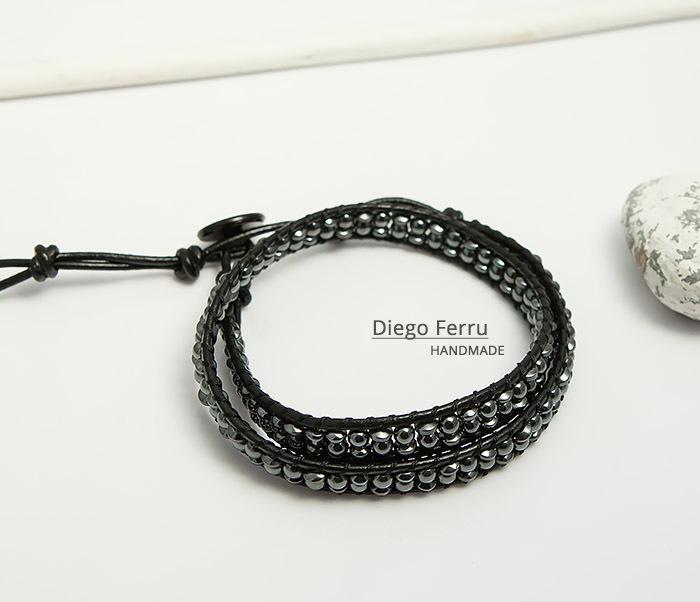 BS748 Красивый браслет из натурального гематита ручной работы, Diego Ferru