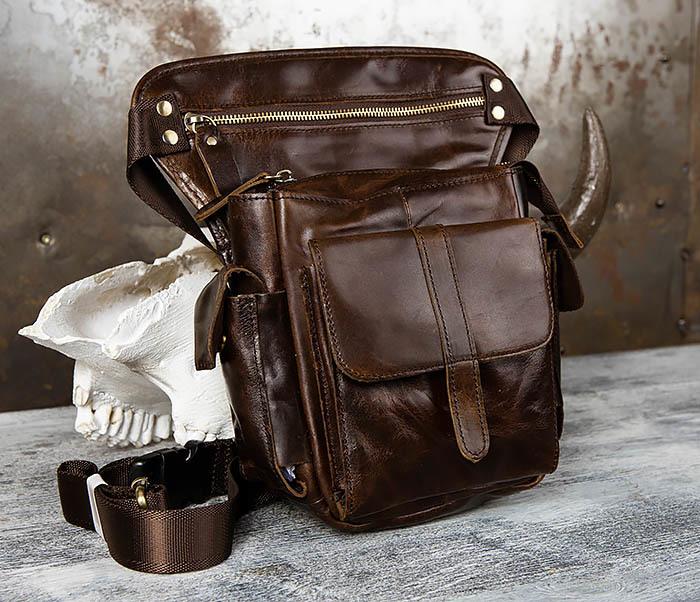 BAG443-2 Вместительная сумка на бедро из натуральной кожи
