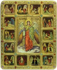 Подарочная большая икона Архангел Михаил с житийными сценами 54х44см на кипарисе, подарочная