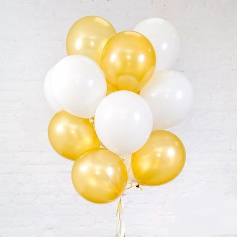 Воздушные шары с гелием Бело-золотые