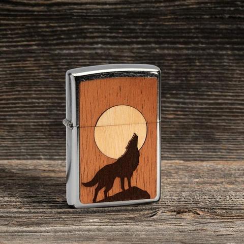 Зажигалка Zippo Wooodchuck с покрытием Street Chrome , латунь/сталь/дерево, серебристая, 36x12x56 мм123