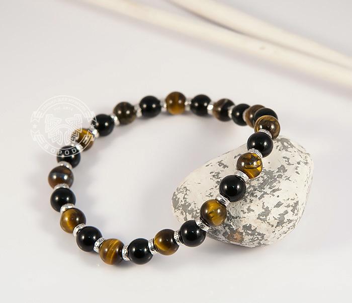 BS703 Яркий мужской браслет из тигрового глаза и агата, ручная работа, «Boroda Design» фото 03